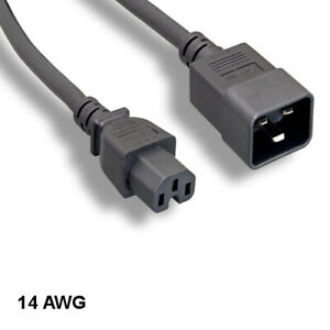 Kentek 1ft IEC-60320 C15 to C20 Power Cord 14AWG SJT for Data Network PDU UPS