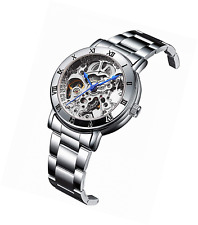 IK Women's Automatic Watch, Steampunk Self Winding Mechanical Silver Bracelet Wr