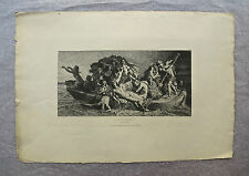 Eau-forte, La Barque de Caron, XIXème, A. Feyen-Perrin