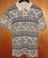 Crazy Jacks FIJI ISLAND Awesome Tan Black Native Collared Shirt Embroidered 2XL