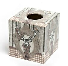 Brown Stag Tissue Box Cover wooden decoupaged handmade