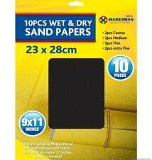 """16x papier de verre humide et sec 9x11/"""" ponçage-cours moyen fine extra fine grits diy"""