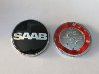 NEW BLACK NEVS SAAB 68mm BONNET BADGE 3 PIN Front 93 95 9-3 9-5 2003-2010