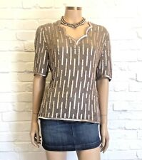 Frank Usher Vintage Dove Grey Scalloped Cocktail Top Size S