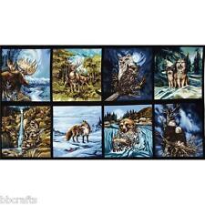 8 BEAUTIFUL WILDLIFE PANELS MOOSE FOX EAGLE WOLF RACCOON 4 QUILTS HOME DECOR #3