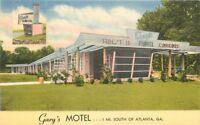 Atlanta Georgia Gary's Motel 1940s Postcard roadside Tichnor linen 12095