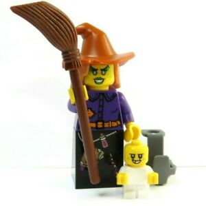LEGO Witch & Baby Minifigure With Carrier & Broom Monster Halloween Gift