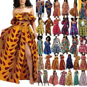 Women Outfit Ethnic African Print Dashiki Floral Split Maxi Dress Skirt Crop Top