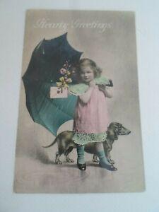 Hearty Greetings Cute Girl & Dachshund Dog, Nostalgic Old Postcard §ZA1365