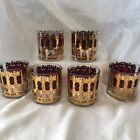 CULVER CRANBERRY AZURE SCROLL DOUBLE OLD FASHIONED GLASSES - SET OF SIX -REDUCED