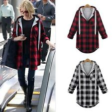 Casual Ladies Plaid Hoodie Shirt Button Tops Flannel Coat Jackets Outwear Outfit