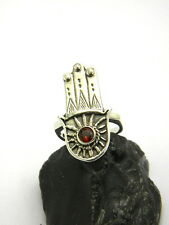 Hamsa sterling silver ring fatima hand and garnet stone amulet ring eye size 6