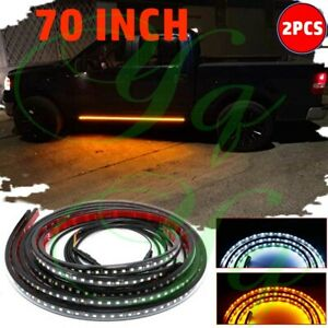 "70"" Running Board Side Step LED Light Bar Turn Signal DRL Strip For Chevrolet"