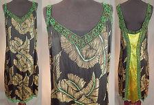 5f765991e6d Vintage Art Deco Black Silk Gold Lamé Lame Feather Print Flapper Beaded  Dress