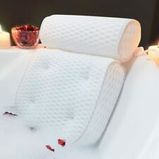 4D Soft Bath Tub Pillow with 6 Suction Cups for Neck & Back Spa Air Fiber