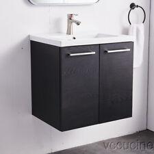 New ListingSingle Bathroom Vanity Ceramic Vessel Sink Cabinet Wall Mount Black Floating