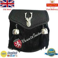 New Child's Kilt Sporran Black Rabbit Fur Stag Head,Baby Dress Kilt Sporran,Kids
