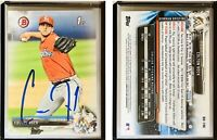 Colton Hock Signed 2017 Bowman Draft #BD196 Card Miami Marlins Auto Autograph