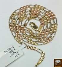Real 10K Trio-Gold Figaro Link Chain, 18 Inch, ladies&Kids, Diamond Cuts,Strong