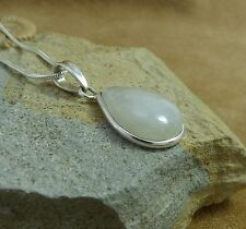 "New 925 Sterling Silver & Rainbow Moonstone Teardrop Pendant  & 18"" Snake Chain"
