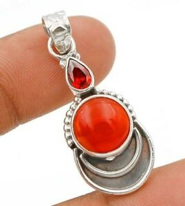 Natural Carnelian 925 Solid Sterling Silver Pendant Jewelry, ED29-6