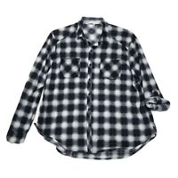 Eden & Olivia Shirt Womens Size XL Blue Plaid Long Sleeve Button Front