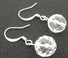 Tibetan 10mm Faceted Clear Quartz Gemstone Earrings