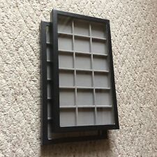 """Box of (2) 8"""" x 14-1/2"""" x 1"""" Display Cases (""""Riker"""" type) with Gray Dividers"""