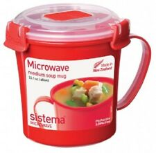 Sistema 656ml Medium Soup Mug Microwave Broth Curry Food Pot Plastic Klip It Lid
