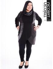 Nicolett by ABO-FASHION: exclusives Kleid schwarz/grau/silber plus Loop 48 - 50
