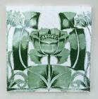 Good Original Antique Art Nouveau Glazed Green Printed 6  x 6  Tile