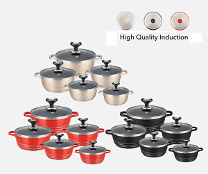 GLAXA  Die Cast NonStick Ceramic Coated Cooking/Casserole Pot 10pc set Induction