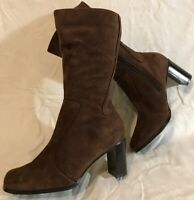 Fiore Leather Brown Mid Calf Suede Lovely Boots Size 4 (907vv)