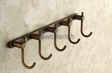 Antique Brass Wall Mounted Bathroom Towel Holder Coat Hanger 5 Robe Hooks nba517