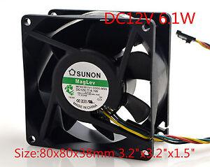 "SUNON Cooling Fan MF80381V1-D000-M99 12V 6.1W 8CM 8038 80x80x38mm 3.2""x3.2""x1.5"""