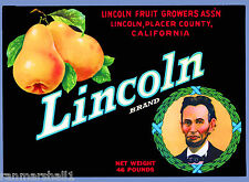 Placer County California Abraham Lincoln Pear Fruit Crate Label Art Print