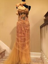 6020627a11  18K ROBERTO CAVALLI WEDDING EVENING COCKTAIL RED CARPET EMBROIDERED GOWN  DRESS
