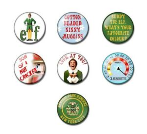 BUDDY THE ELF 25 or 38mm button badge / fridge magnet Santa, Christmas stocking