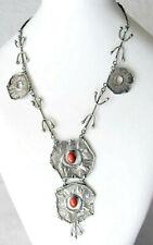 Vintage modernist silver sterling necklace set with coral, weight: 40gr., Israel