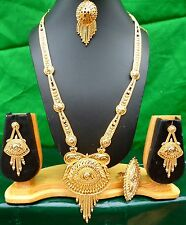 "Indian 22k Gold Plated 11"" Long Wedding Bridal Necklace Earrings Tikka Set b"