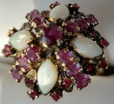 ANTIQUE hand made 18K CABOCHON  DOME GOLD OPAL RUBY HAREM FLOWER ART DECO RING