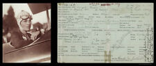 "11"" x 4"" PANO: AMELIA EARHART WEARS FLIGHT HELMET & PEARLS, JOB APPLICATION 1926"