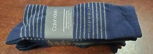 Calvin Klein Men 6 Pair Combed Cotton Casual Dress Socks Navy Blue Shoe 7 to 12