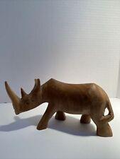 Rhinoceros Hand Carved Wooden Figure Statue Vintage Rhino Wood Sculpture Fig Vtg