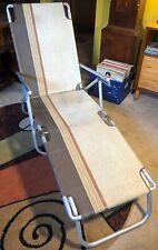 Vintage Retro BROWNS Aluminum Folding Lawn Chair Patio Lounge Chaise Adjustable