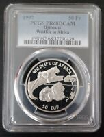 DJIBOUTI SILVER PROOF 50 FRANC COIN 1997 YEAR KM#35 LIONS PCGS GRADING PR68DCAM
