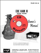 Cde Ham-Iii / Cd-44 Cd Owner's Manual Antenna Rotor Rotator Book on Cd