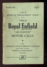 1954 to 1955 ROYAL ENFIELD 250 CLIPPER MOTORCYCLE PARTS MANUAL