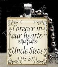 Forever in Our Hearts Scrabble Tile Pendant Memorial Jewelry Custom Name & Dates