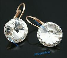 18K rose Gold GP shine white big Austria drill Crystal circle Earrings italina